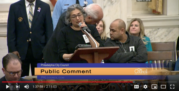 Testimony at April 11, 2019 session of CityCouncil