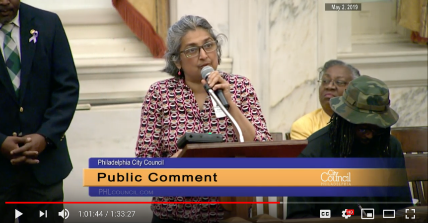 Testimony at May 2, 2019 session of City Council